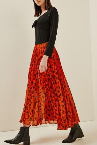 Next/Mix Floral Print Pleat Skirt