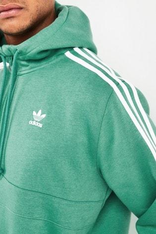 adidas originals tape fleece 1/2 zip hoodie