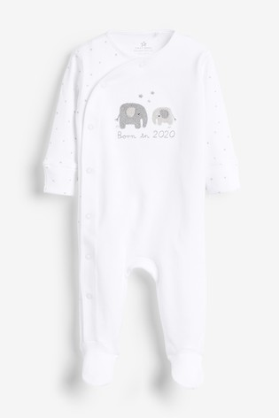 White Born In 2020 Sleepsuit (0-9mths)
