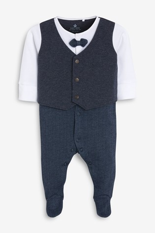 Navy Smart Bow Tie Sleepsuit (0mths-2yrs)