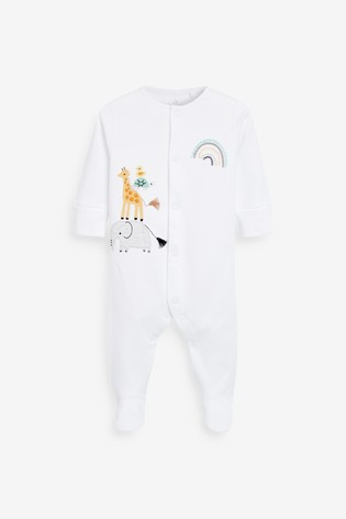 Ecru 3 Pack GOTS Organic Cotton Animal Sleepsuits (0-12mths)