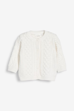 White GOTS Organic Cable Cardigan (0mths-2yrs)