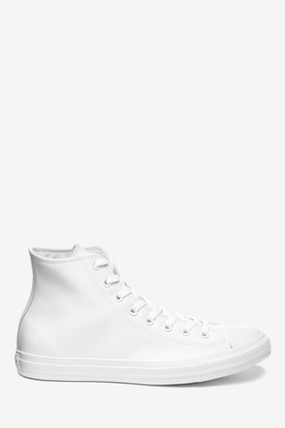 Converse White Leather High Chuck Ox Trainers