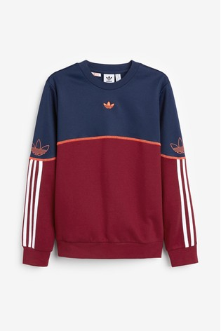 adidas Originals Burgundy/Navy SPRT Crew Sweater
