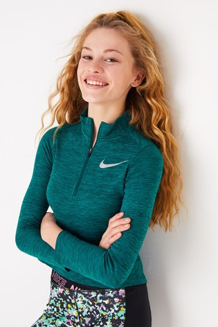 Nike Lauftop mit 12 Reissverschluss, Petrol