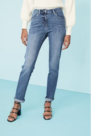 Mid Wash Relaxed Skinny Jeans