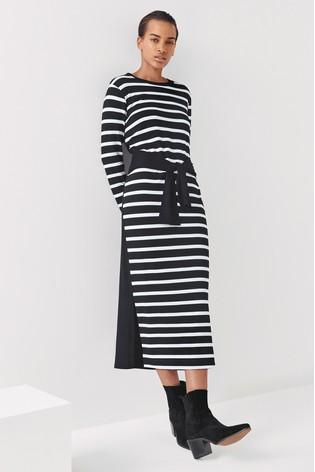 Next/Mix Stripe Tie Waist Jersey Dress