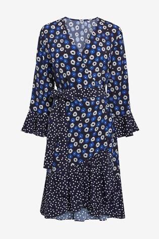 Next/Mix Mixed Print Wrap Dress