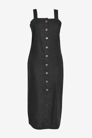 Black Linen Blend Midi Dress