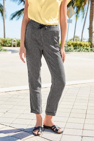 Black Stripe Linen Blend Tapered Trousers