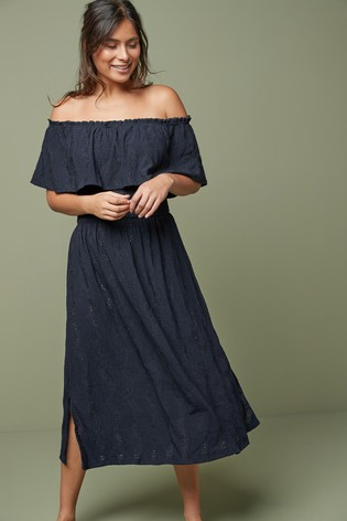 Navy Broderie Off The Shoulder Dress