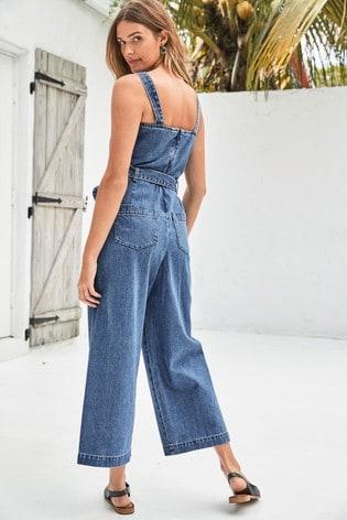 Mid Blue Belted Denim Wide Leg Jumpsuit