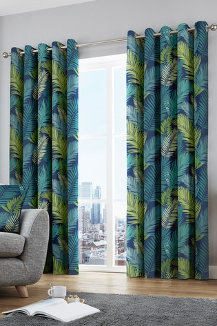 Fusion Tropical Leaves Lined Eyelet Curtains