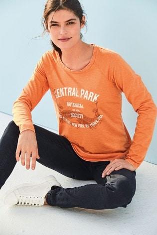 Orange Slogan Raglan Long Sleeve Top