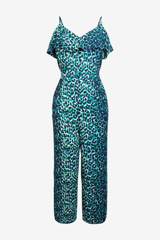 Green Animal Frill Layer Jumpsuit