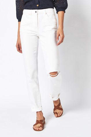 White Ripped Mid Rise Boyfriend Jeans