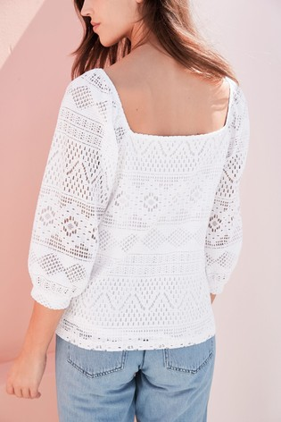 White Broderie Square Neck Top