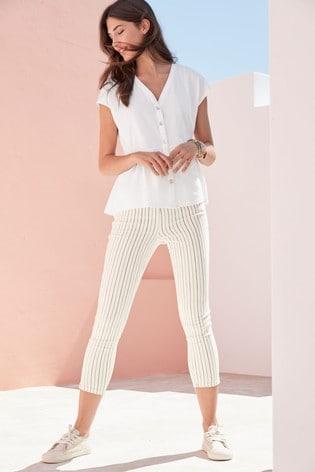 Ecru/Navy Stripe Skinny Cropped Jeans