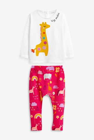 White/Pink Giraffe T-Shirt And Leggings Set (0mths-2yrs)