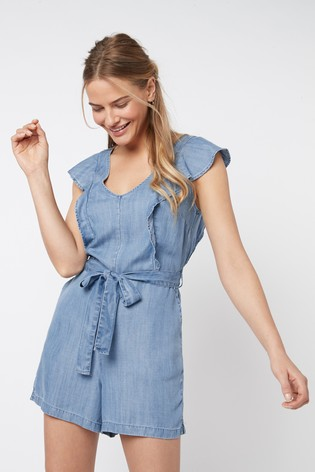 Blue TENCEL™ Frill Detail Playsuit