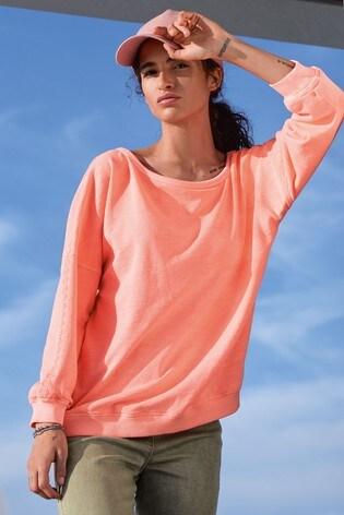 Fluro Pink Embroidered Sweatshirt