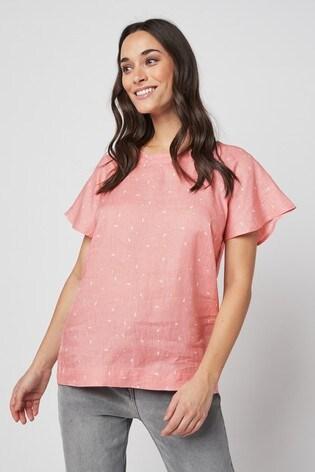 Pink Print Short Sleeve Linen Top
