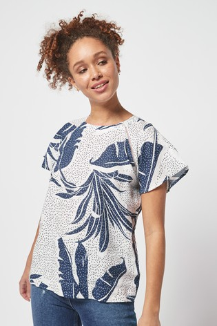 Blue/White Palm Print Short Sleeve Linen Top