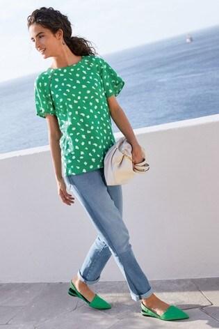 Green Spot Short Sleeve Linen Top