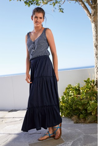 Navy Maxi Tiered Skirt