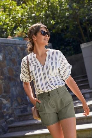 Blue Stripe Short Sleeve Pocket Shirt
