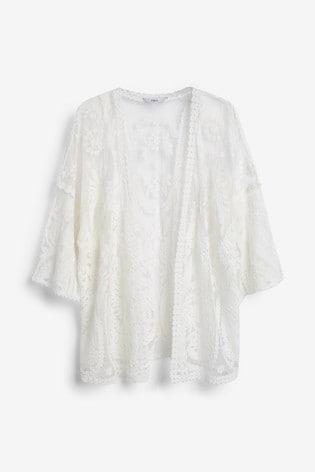 White Lace Kimono Cardigan