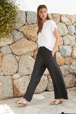 Charcoal Animal Wide Leg Trousers