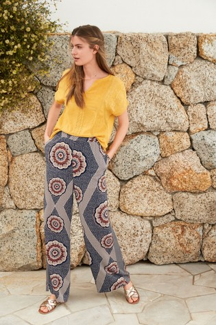 Navy Print Wide Leg Trousers