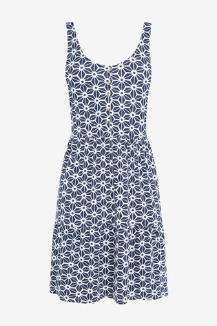 Navy Geo Tiered Swing Sun Dress