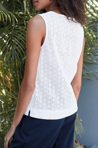 White Broderie Shell Top