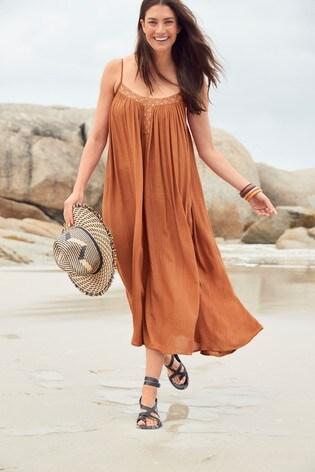 Tan Embellished Sparkle Dress