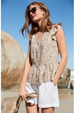 Taupe Floral Linen Blend Ruffle Sleeve Top