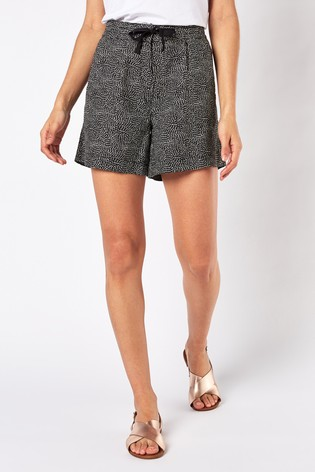 Black Printed Linen Blend Shorts