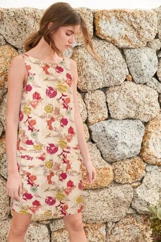 Ecru Floral Linen Blend Shift Dress