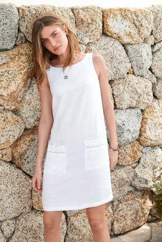 White Linen Blend Shift Dress