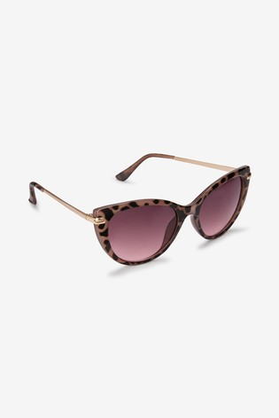 Tortoiseshell Effect Cat Eye Metal Arm Sunglasses