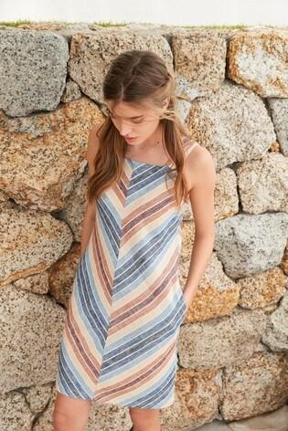 Multi Stripe Linen Blend Square Neck Dress
