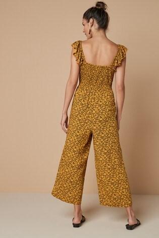 Ochre Print Frill Sleeve Jumpsuit