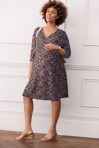 Blue Floral Print Maternity Wrap Dress