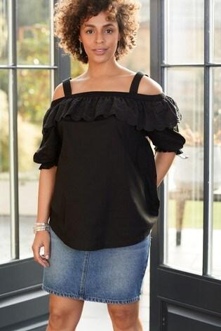 Black Maternity Bardot Top