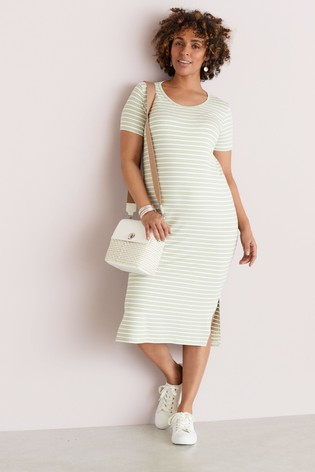 Mint Stripe Maternity Jersey T-Shirt Dress