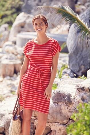 Pink Stripe Jersey Dress