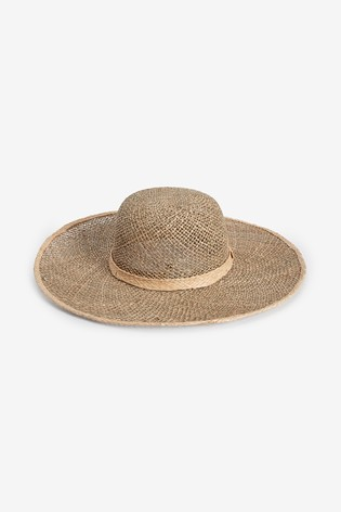 Neutral Open Weave Floppy Hat