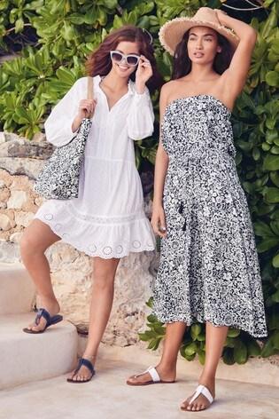 Navy Print Pull-On Bandeau Midi Dress