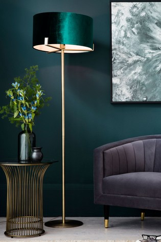 Nicholson Velvet Shade Floor Lamp by Gallery Direct